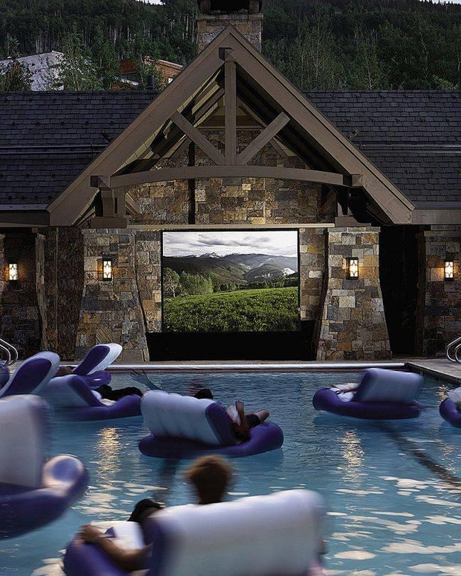 cosas caras piscina con cine