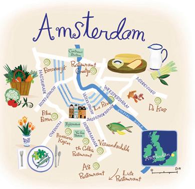 mapa ilustrado - amsterdam