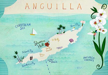 mapa ilustrado - anguilla