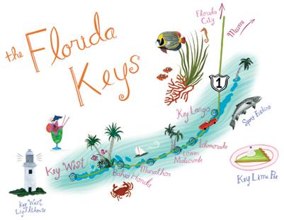 mapa ilustrado - florida