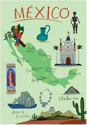 mapa ilustrado - mexico