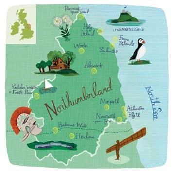 mapa ilustrado - nort humberland