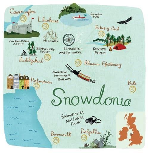 mapa ilustrado - snowdonia