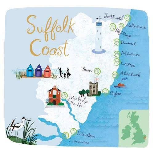 mapa ilustrado - suffolk coast
