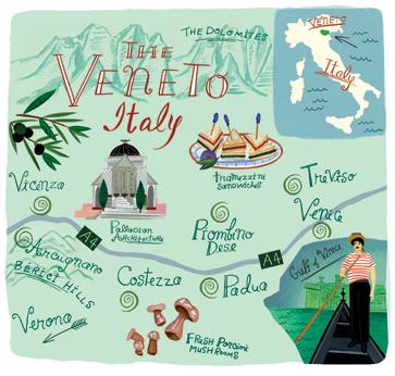 mapa ilustrado - the venetto italy