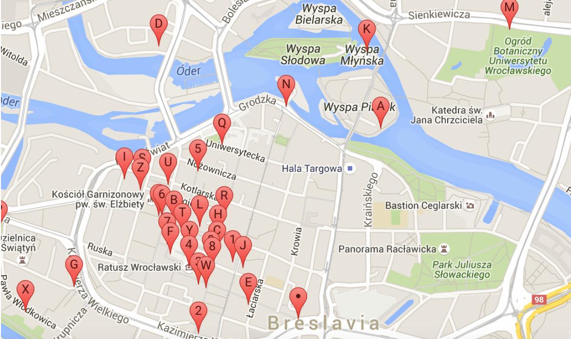 wroclaw mapa de los enanos