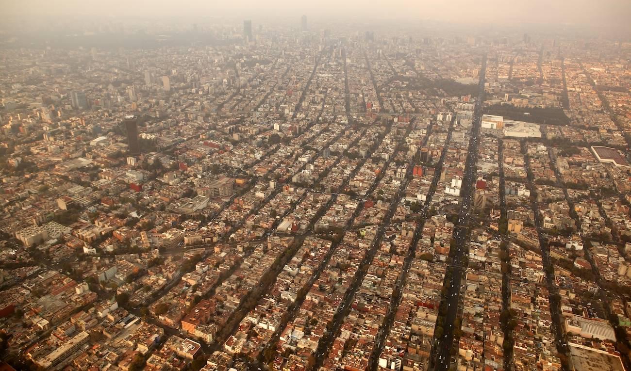 Vista desde el aire de la Ciudad de México DF