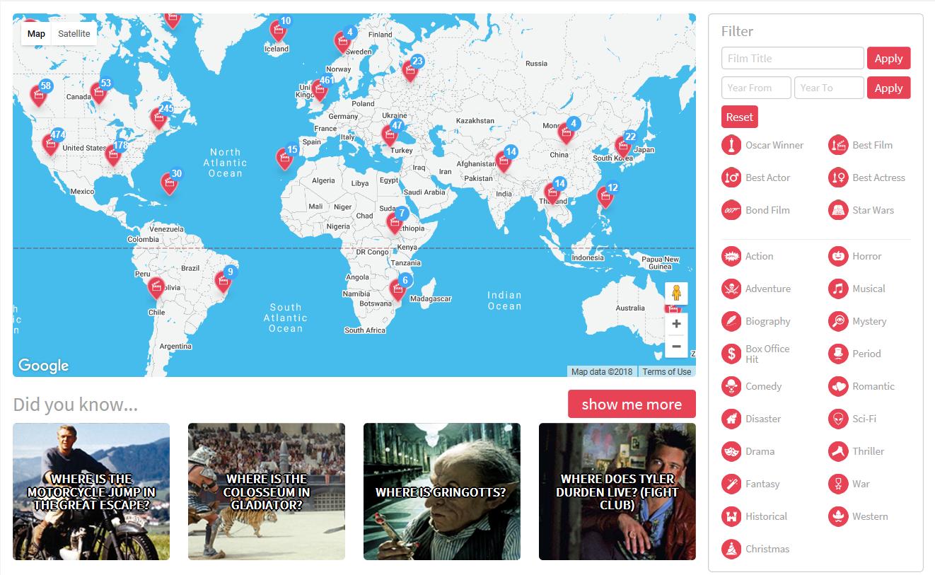 La vuelta al mundo en 442 películas por medio de un mapa interactivo 3